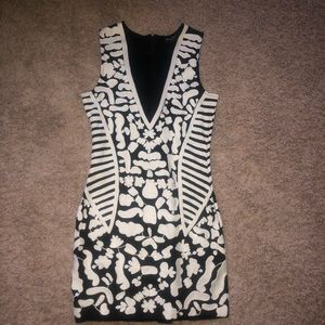 Black & cream/white cocktail dress
